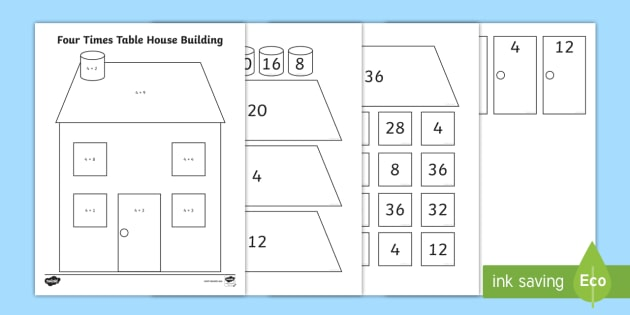 Four Times Table House Building Activity Arrays Groups Of