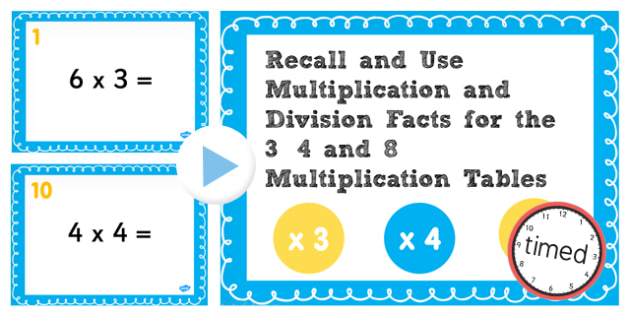 Multiplication Division Facts for 3, 4, 8 Table PowerPoint Test