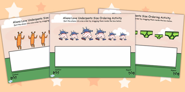Size Ordering Activity Flipchart to Support Teaching on Aliens Love Underpants - order
