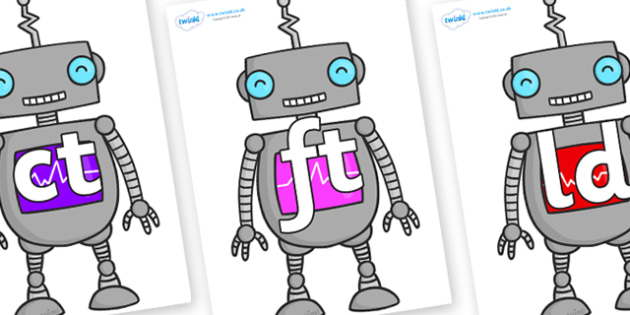 Final Letter Blends on Robots - Final Letters, final letter, letter blend, letter blends, consonant, consonants, digraph, trigraph, literacy, alphabet, letters, foundation stage literacy