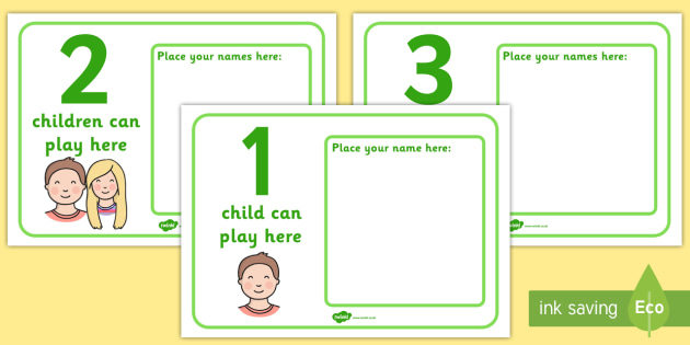 How Many Children Can Play Here with Names Center Posters - Display, poster, classroom area display, how many can, child self management