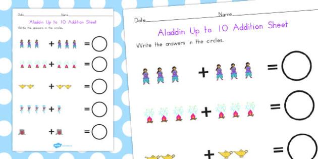 Aladdin Up to 10 Addition Sheet - maths, numeracy, adding, add