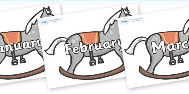 Months of the Year on Rocking Horses - Months of the Year, Months poster, Months display, display, poster, frieze, Months, month, January, February, March, April, May, June, July, August, September