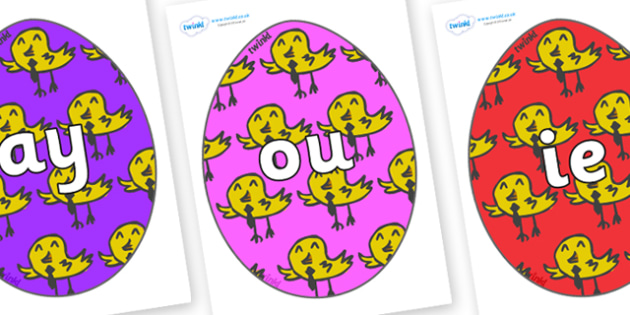 Phase 5 Phonemes on Easter Eggs (Chicks) - Phonemes, phoneme, Phase 5, Phase five, Foundation, Literacy, Letters and Sounds, DfES, display
