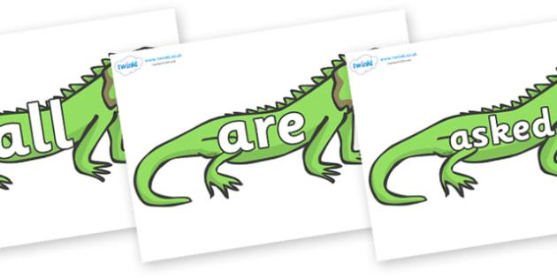Tricky Words on Iguanas - Tricky words, DfES Letters and Sounds, Letters and sounds, display, words