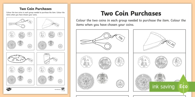 two coin purchase worksheet worksheet maths coins money shop. Black Bedroom Furniture Sets. Home Design Ideas