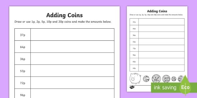 adding coins 1p 2p 5p 10p and 20p worksheet worksheet. Black Bedroom Furniture Sets. Home Design Ideas