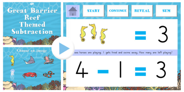 Great Barrier Reef Themed Subtraction PowerPoint - australia