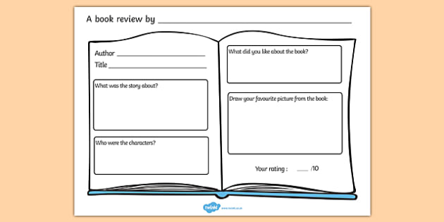Book Review Worksheet - books, reading, review, book review