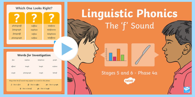 Northern Ireland Linguistic Phonics Stage 5 and 6, Phase 4a, 'f' Sound PowerPoint  - NI, Irish, Sound Search, Word Sort, Investigation, Phoneme, Grapheme, Letter