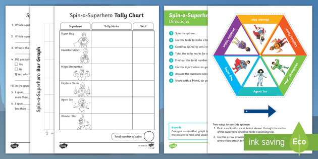 Superhero Statistics Activity Pack - NZ Statistics, Back to School, tally marks, bar graph, spinner, data, superheroes