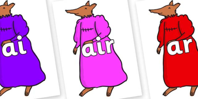 Phase 3 Phonemes on Mrs Fox to Support Teaching on Fantastic Mr Fox - Phonemes, phoneme, Phase 3, Phase three, Foundation, Literacy, Letters and Sounds, DfES, display