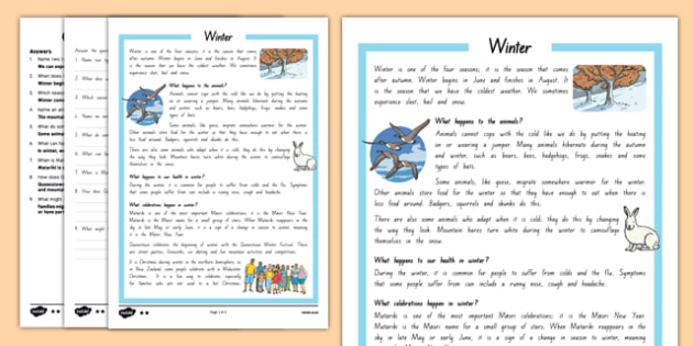 New Zealand Winter Differentiated Reading Comprehension Activity