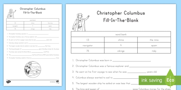 Columbus Fill In The Blank Worksheet Activity Sheet