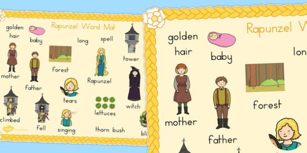 Rapunzel Word Mat - australia, rapunzel, word mat, traditional, tale