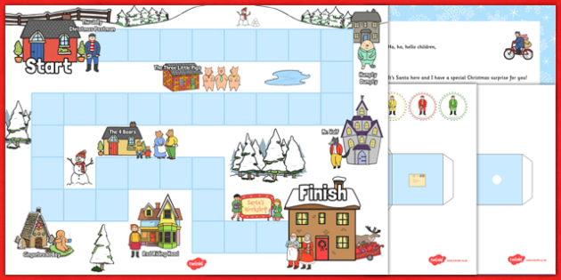 Christmas Postman Board Game to Support Teaching on The Jolly Christmas Postman - eyfs, early years, planning, christmas, maths, janet and allan ahlberg, the jolly christmas postman