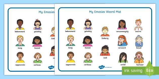 Afrikaans My Emosies Woordmat - emosies, woordeskat