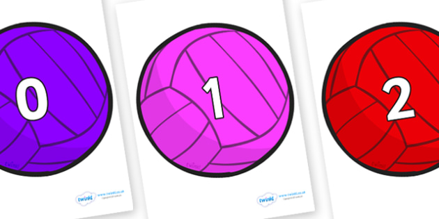 Numbers 0-100 on Water Polo Balls - 0-100, foundation stage numeracy, Number recognition, Number flashcards, counting, number frieze, Display numbers, number posters