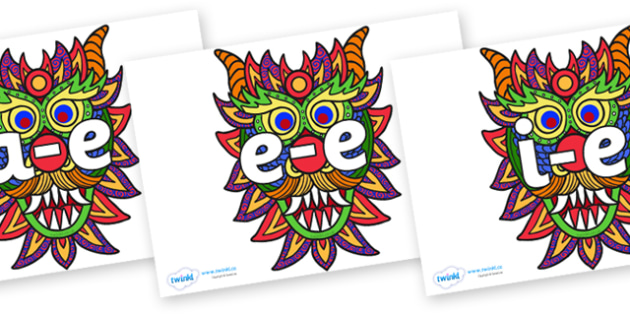 Split Digraphs on Chinese New Year Dragon Mask - Modifying E, letters, modify, Phase 5, Phase five, alternative spellings for phonemes, DfES letters and Sounds
