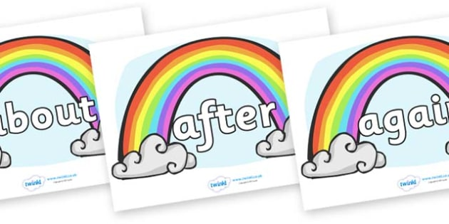 KS1 Keywords on Rainbows - KS1, CLL, Communication language and literacy, Display, Key words, high frequency words, foundation stage literacy, DfES Letters and Sounds, Letters and Sounds, spelling
