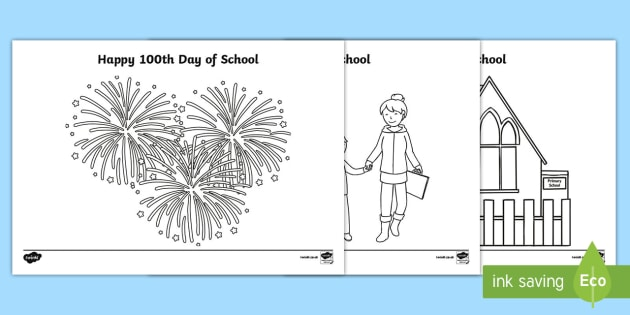 100 Days Of School Colouring Pages 100 Days Of School Hundred Nz