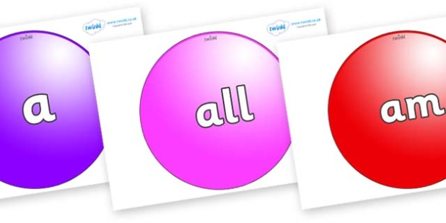 Foundation Stage 2 Keywords on Spheres - FS2, CLL, keywords, Communication language and literacy,  Display, Key words, high frequency words, foundation stage literacy, DfES Letters and Sounds, Letters and Sounds, spelling