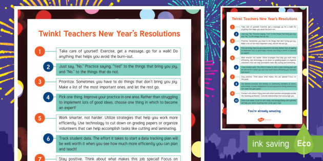 twinkl teachers new years resolutions adult guidance resolutions new years eve new year