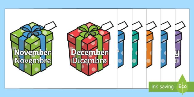 Months of the Year on Birthday Presents Italian/English - Months of the Year on Birthday Presents - Months poster, Months display, Months of the year, birthda
