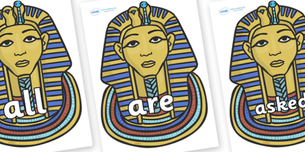 Tricky Words on Tutankhamun - Tricky words, DfES Letters and Sounds, Letters and sounds, display, words