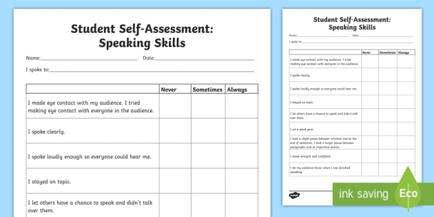 writing self and speaking self Angeline stewart final arli paper writing self-assessment and goal-setting in my seven years of teaching first grade, i've found that the subject that students most struggle.