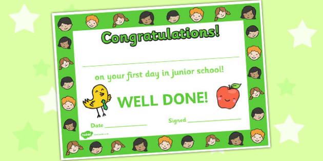 First Day Award Certificates Junior School - First Day, First Day Award Certificate, Junior School, First Day Certificate, Junior School Certificate