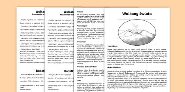 Czytanie ze zrozumieniem Wulkany świata - wulkan, erupcja, wybuch, aktywny, geografia, wulkany, Wezuwiusz, Etna, czytanie, rozumienie, pisany,