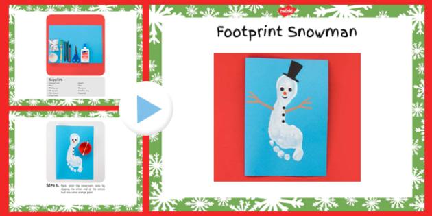 Footprint Snowman Craft Instructions PowerPoint - footprint, snowman, craft, instructions, powerpoint
