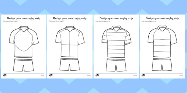 Design a Rugby Strip - Rugby, Rugby Strip, World Cup, fine motor skills, colouring, designing, activity, foundation stage