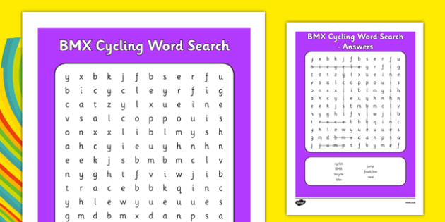 Rio 2016 Olympics BMX Cycling Word Search - rio 2016, 2016 olympics, rio olympics, bmx cycling, bmx, cycling, word search