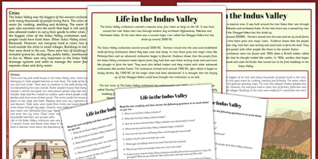 Life in the Indus Valley Differentiated Reading Comprehension Activity