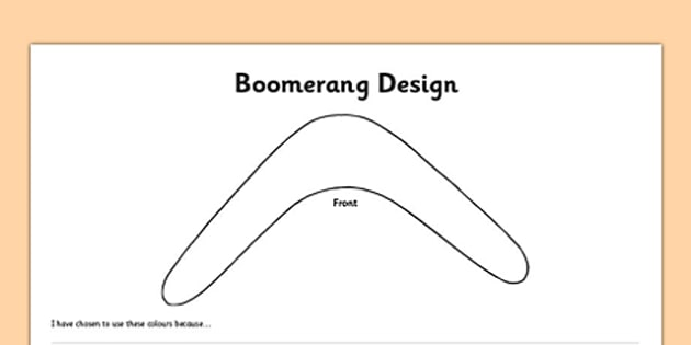Boomerang Design Activity Sheet Front and Back - australia, boomerang, template, outline, design, colouring, worksheet, art, technology