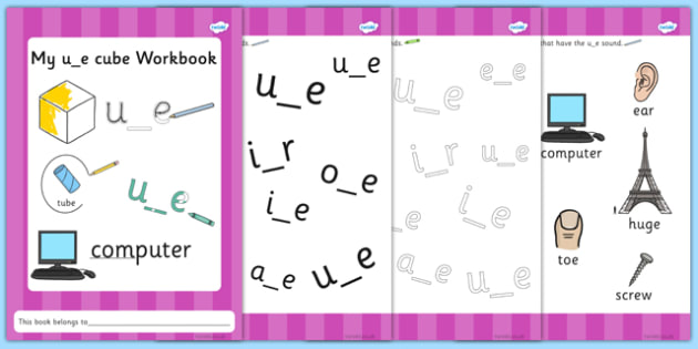 Phase 5 u_e Cube Grapheme Workbook - phase five, graphemes