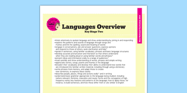 2014 National Curriculum Languages Overview - new curriculum, EAL, plans