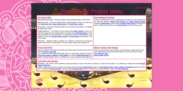 Diwali Party Project Pack Teaching Ideas