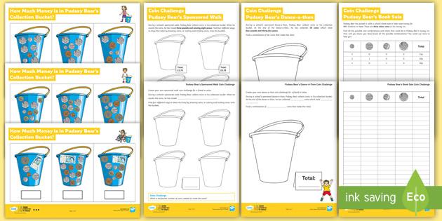 LKS2 BBC Children in Need How Much Money in Pudsey's Bucket? Maths Differentiated Worksheet