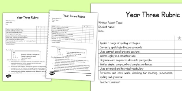 Written Report Rubric Year Three - australia, written, report, rubric, written, report, rubric, three