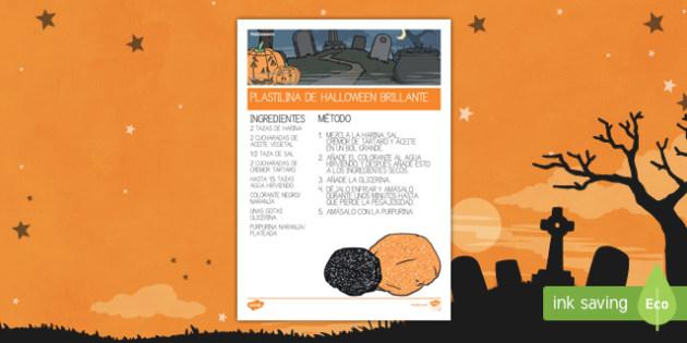 Halloween plastilina brillante Receta