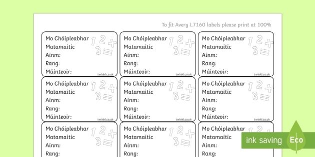 Irish Gaeilge Pupil Maths Copybook Labels