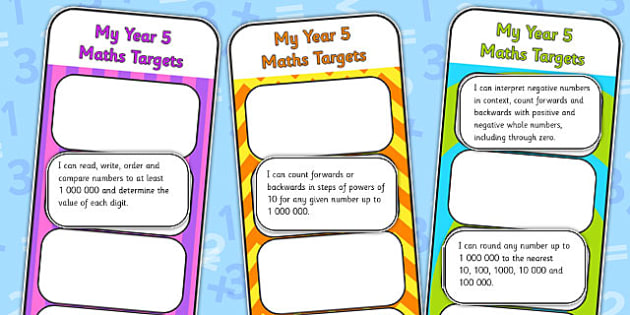 2014 National Curriculum Year 5 Maths Target Bookmarks - numeracy, ks2