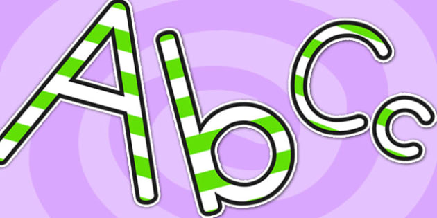 Stripey Green Display Lettering - lettering, letters, display