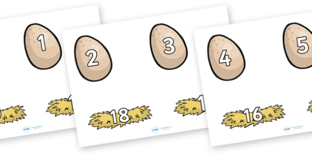 Number Bonds to 20 on Eggs and Nests - on the farm, number bonds on eggs and nests, number bonds on eggs, egg number bonds, number bonds to 20, egg bonds