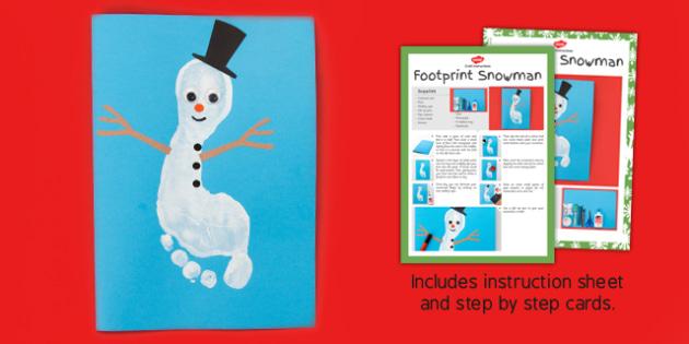 Footprint Snowman Craft Instructions - footprint, snowman, craft, instructions