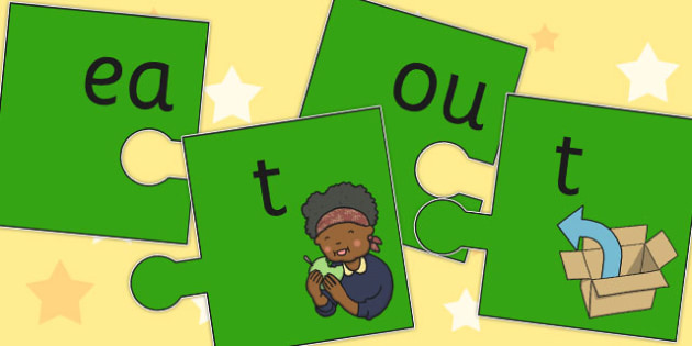 Vowel and Final T Jigsaw Cut Outs - vowel, final, t, jigsaw