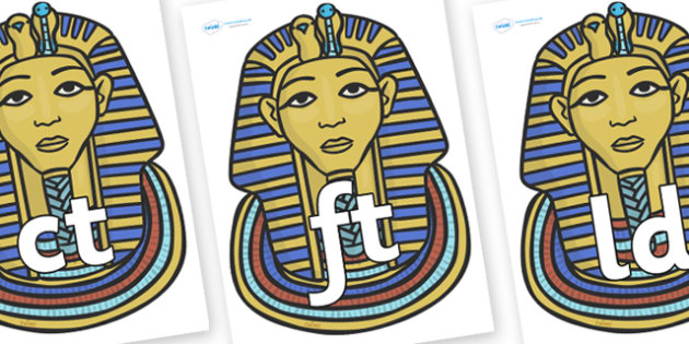 Final Letter Blends on Mummy Masks - Final Letters, final letter, letter blend, letter blends, consonant, consonants, digraph, trigraph, literacy, alphabet, letters, foundation stage literacy